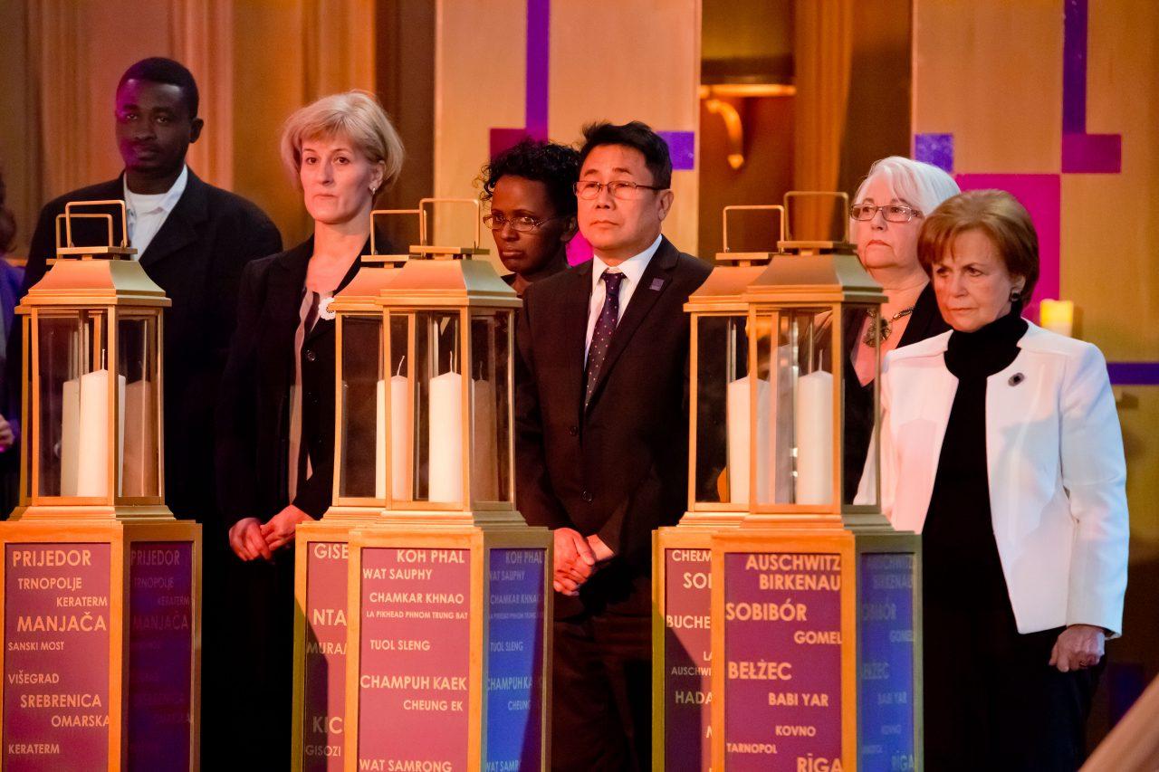 Memorial candles were lit by survivors: Loai Hasballa- Darfur, Vahida Vukalić- Bosnia, Sophie Masereka- Rwanda, Sokphal Din- Cambodia, Joan Salter- Nazi Persecution, Mala Tribich- the Holocaust.