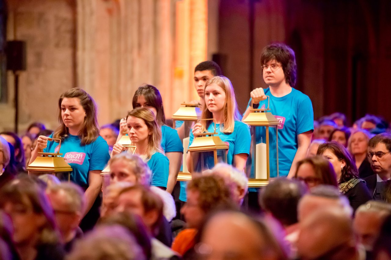 The candles were carried in a procession by Holocaust Memorial Day Youth Champions Hayley Carlyle, Elisha Coates, Katya Fowler, Charlotte Lee, Daniel Vogel and Jack Welch.
