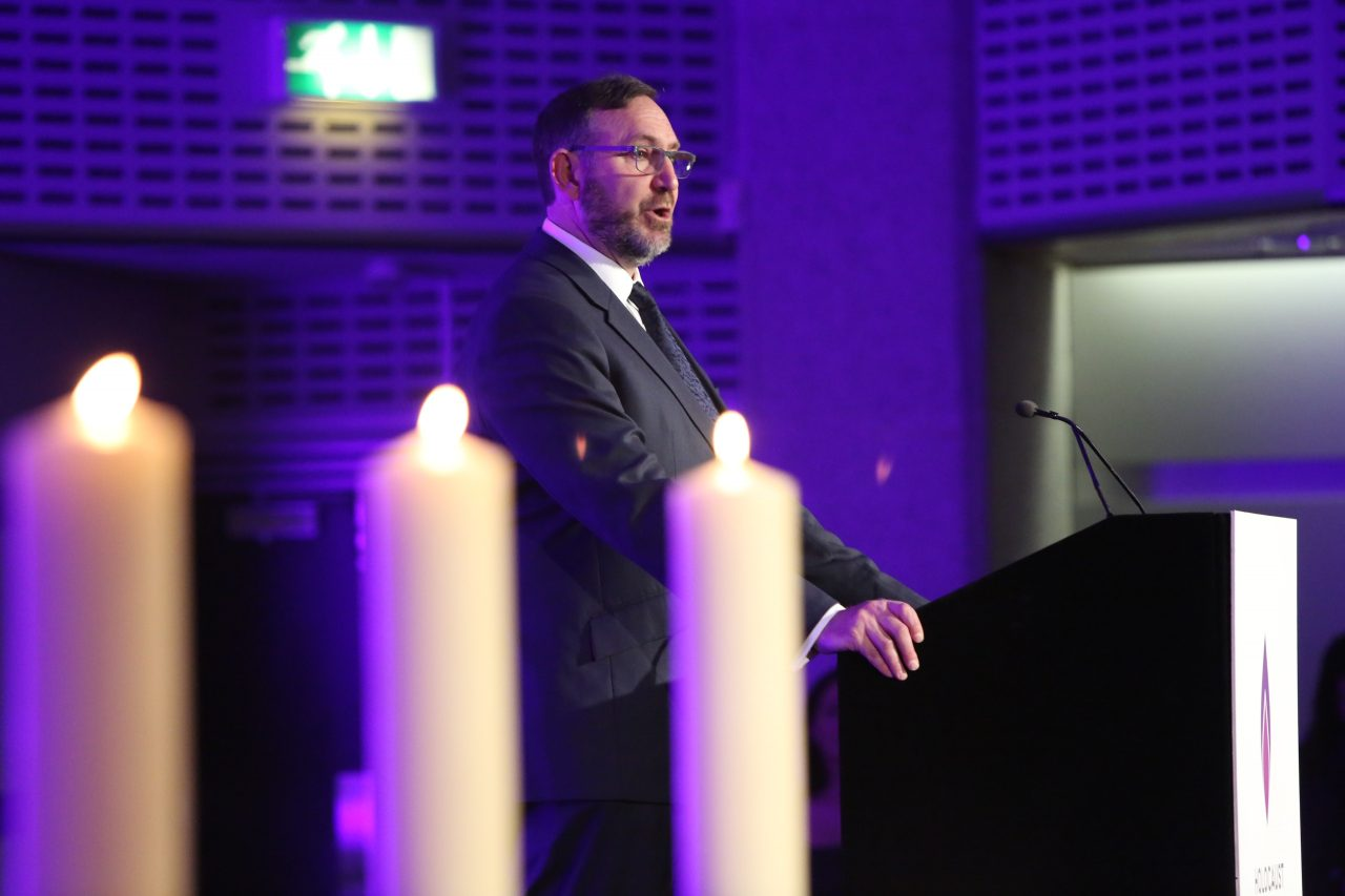 Rabbi Jeremy Lawrence recited El Male Rachamim, the Jewish memorial prayer for the victims of the Holocaust.