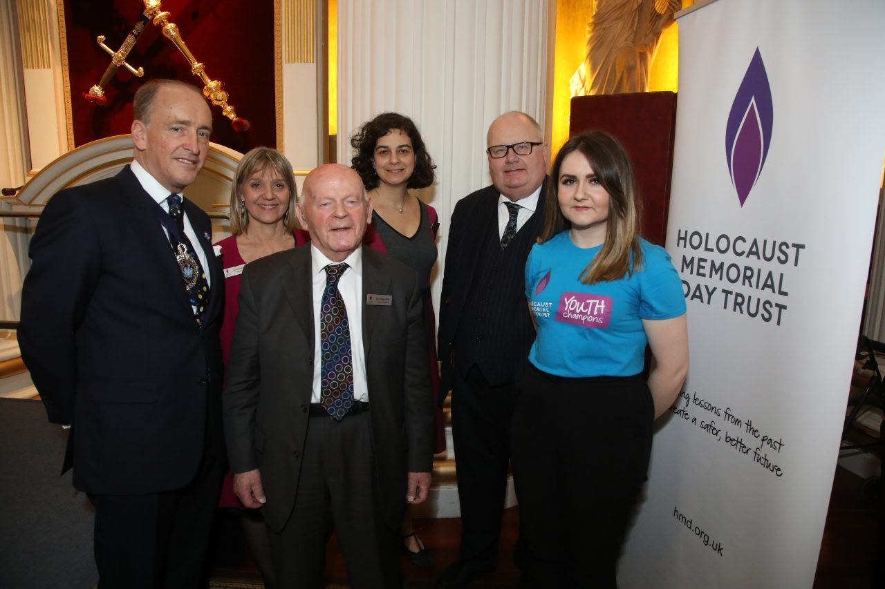 The Lord Mayor, Laura Marks OBE, Sir Ben Helfgott, Olivia Marks-Woldman, Sir Eric Pickles and Hayley Carlyle (Lead Youth Champion)