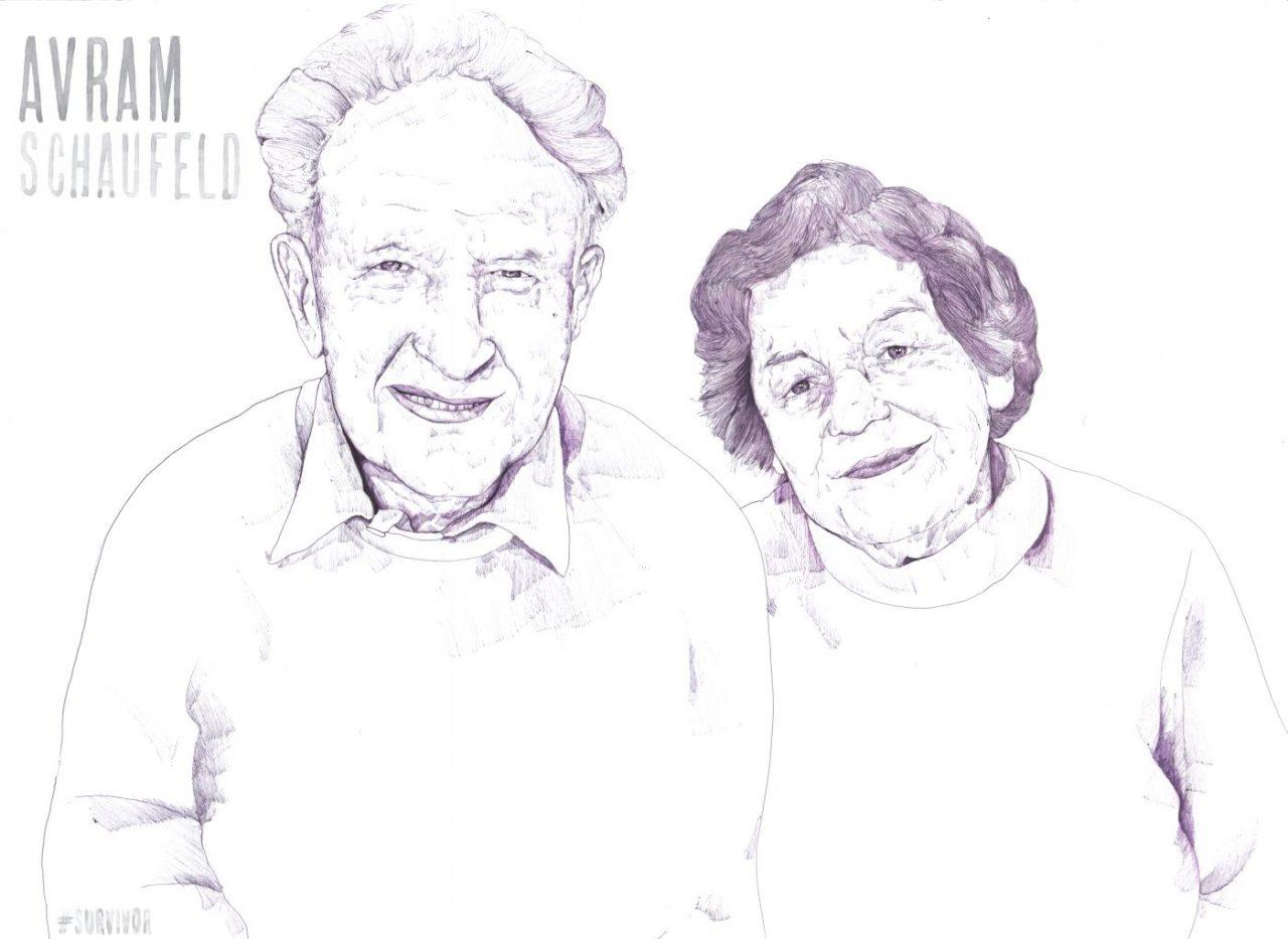 Avram and Vera Schaufeld drawn by Gideon Summerfield
