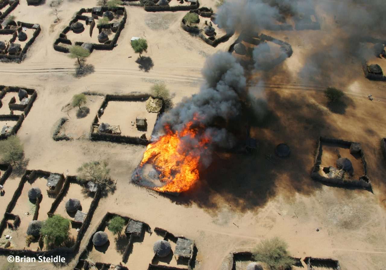 Um Ziefa burning village, Darfur