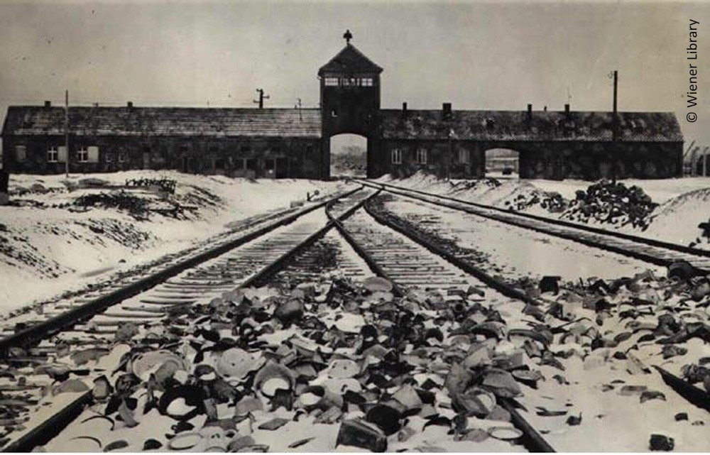 Gates, railway and tower at Auschwitz-Birkenau