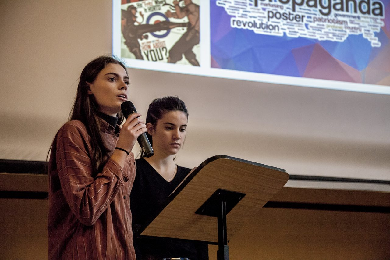 Youth Champions, Jessamy and Gemma, speak at an HMD event organised by the South West Dorset Multicultural Network