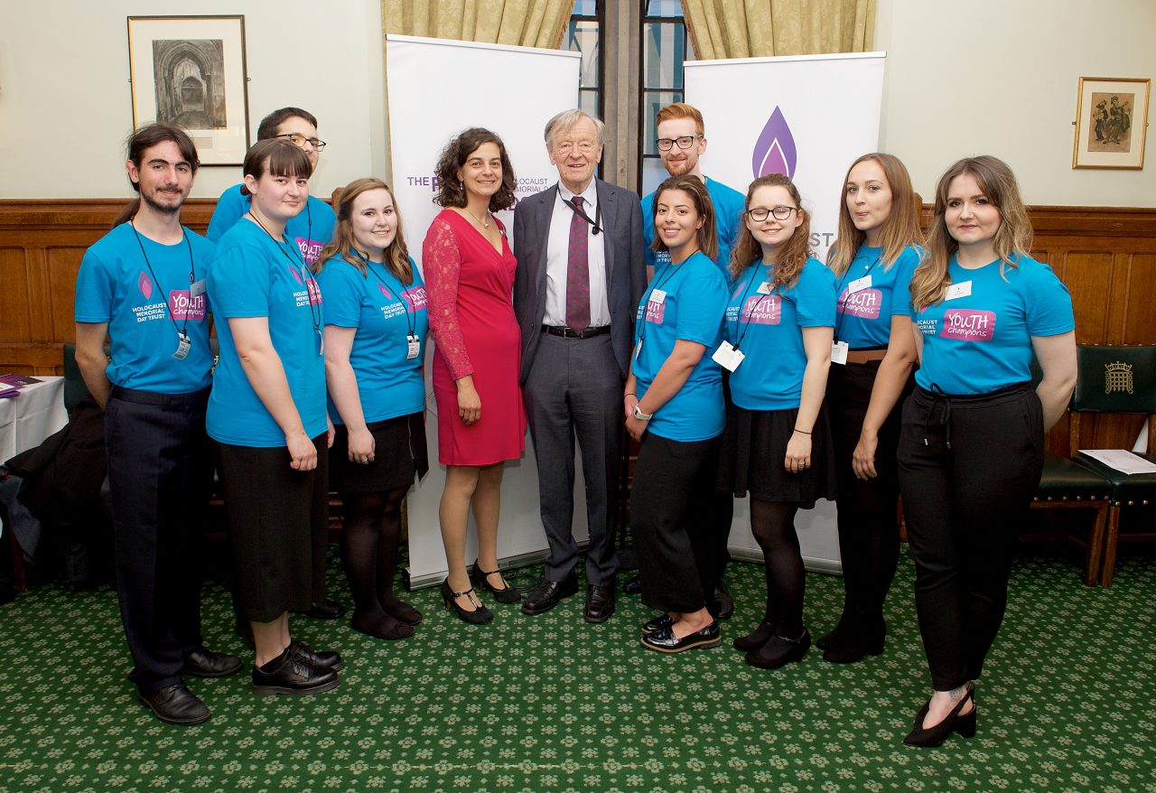 Youth Champions attend the Parliamentary Reception. They are pictured here with Olivia Marks-Woldman, Chief Executive of HMDT, and Lord Alf Dubs