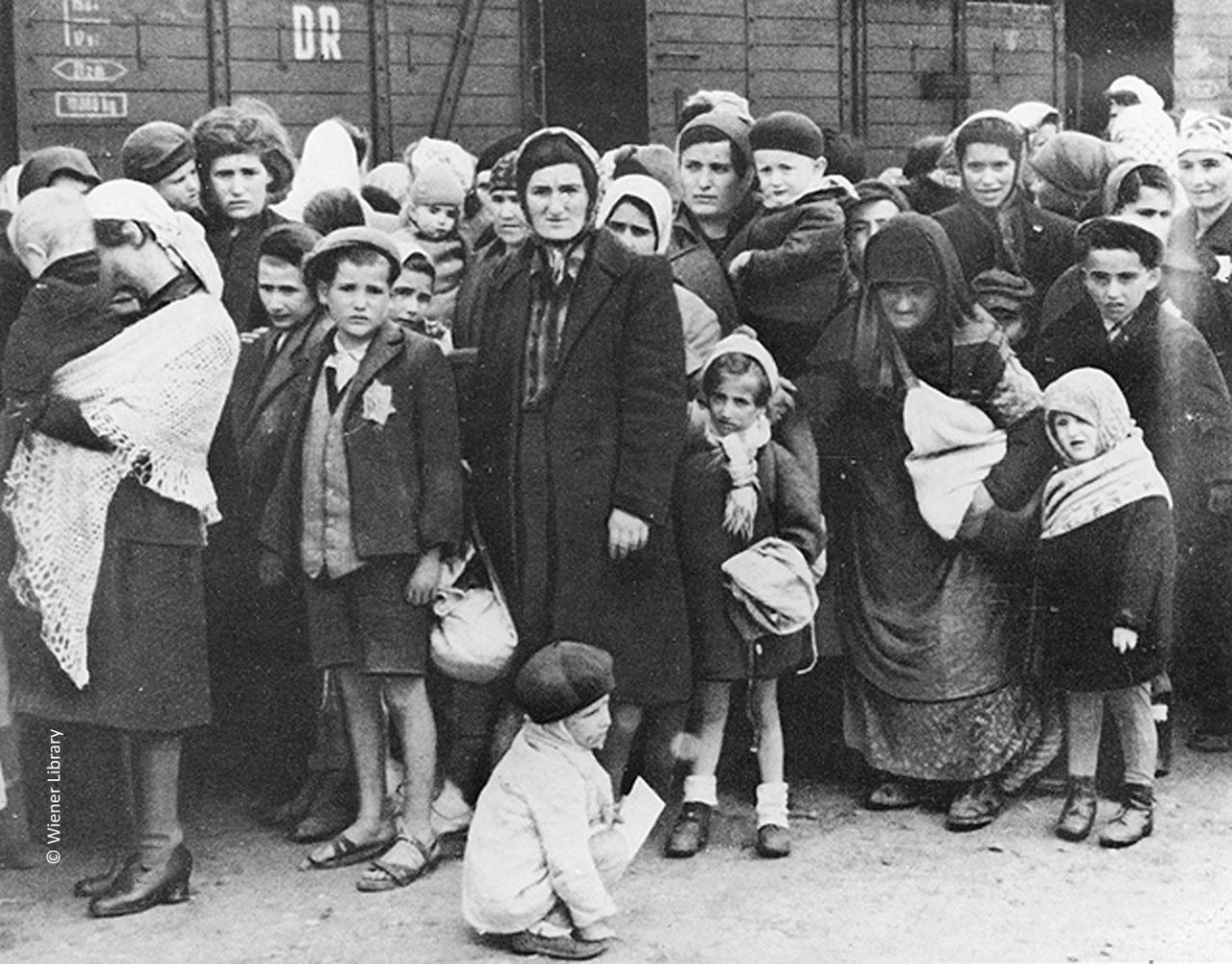 Arrival of women and children at Auschwitz-Birkenau in May 1944