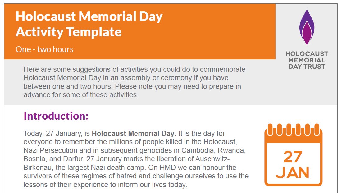Holocaust Memorial Day activity template: one - two hours
