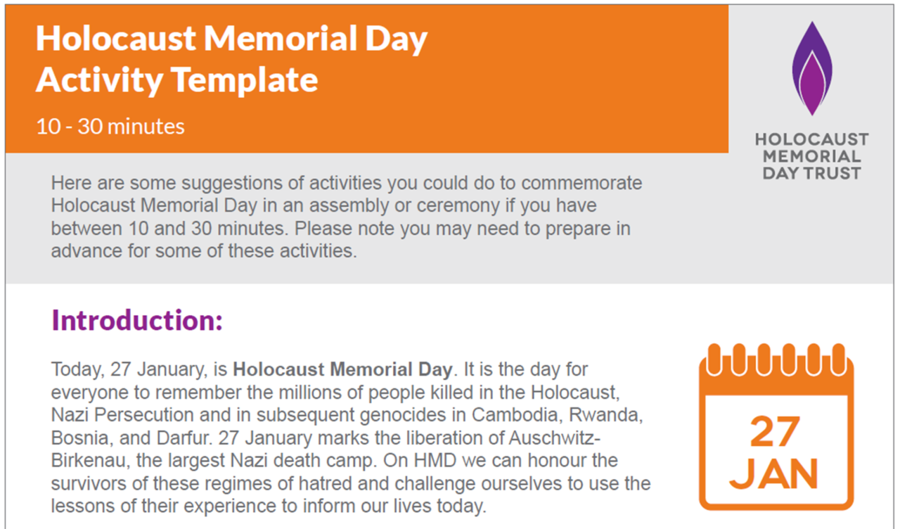 Holocaust Memorial Day activity template: 10 - 30 minutes