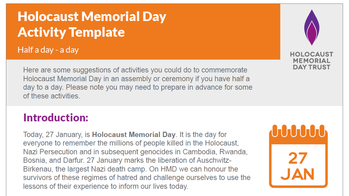 Holocaust Memorial Day activity template: half a day - a day