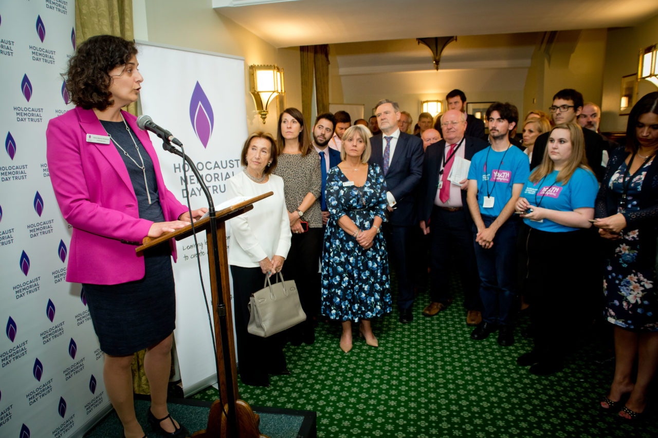 Chief Executive of HMDT, Olivia Marks-Woldman, speaks to guests at the reception