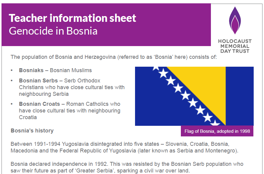 Teacher information sheet – Genocide in Bosnia