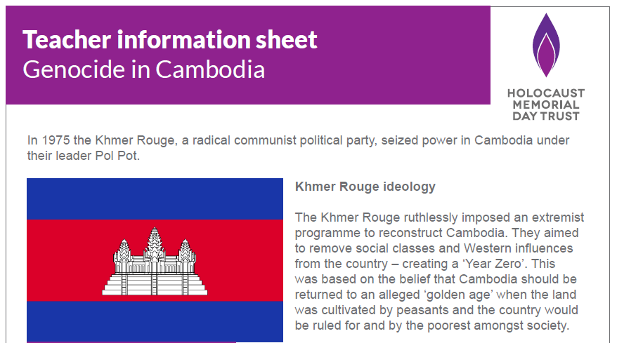 Teacher information sheet – Genocide in Cambodia