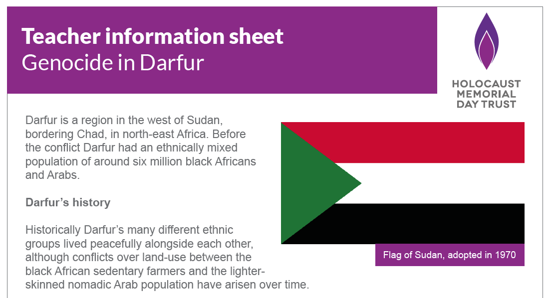 Teacher information sheet – Genocide in Darfur