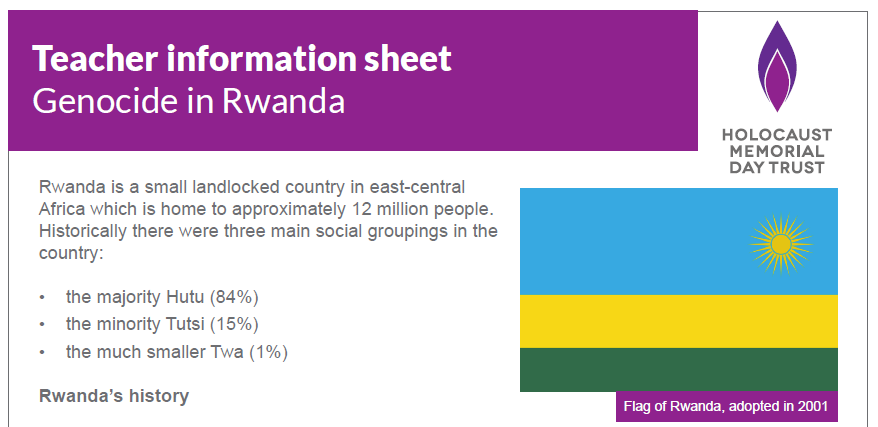 Teacher information sheet – Genocide in Rwanda