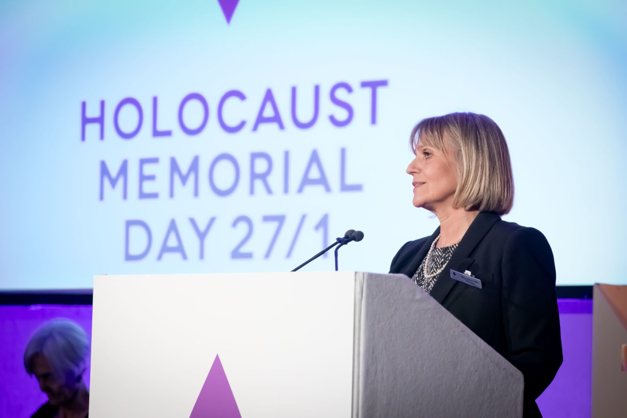 The ceremony was introduced by Laura Marks OBE, Chair of Holocaust Memorial Day Trust.