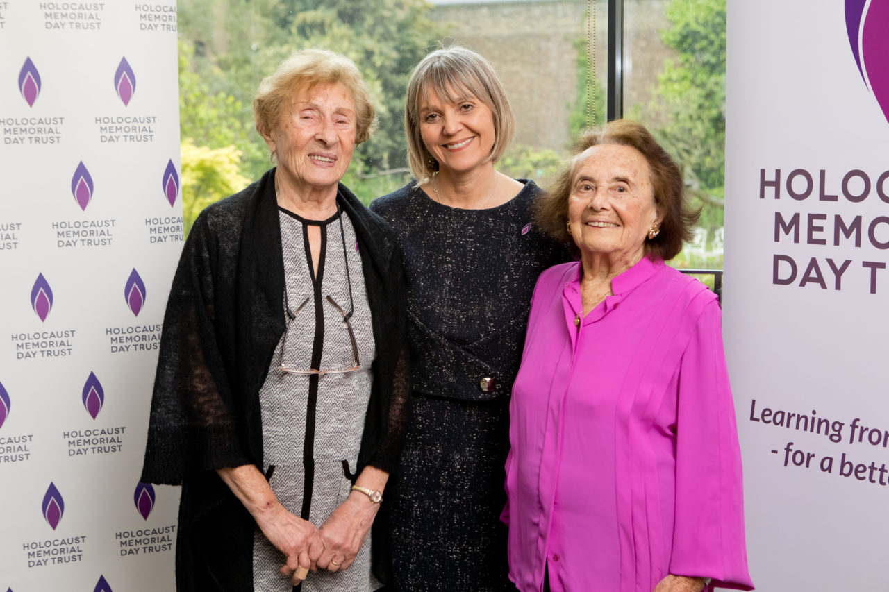 Susan Pollack MBE, survivor of the Holocaust, Laura Marks, Chair of HMDT and Lily Ebert BEM, survivor of the Holocaust