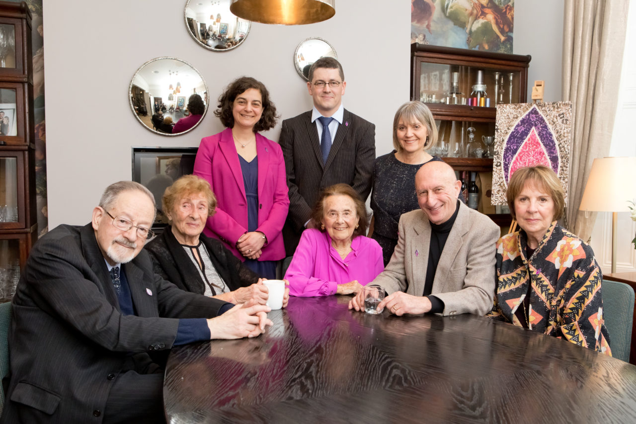 Survivors of the Holocaust and genocide, with Penelope Wilton, Chief Executive Olivia Marks-Woldman and Chair Laura Marks OBE.