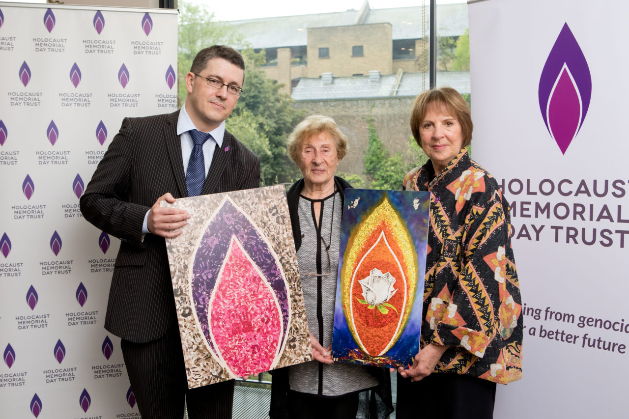 Safet Vukalć, Susan Pollack MBE and Penelope Wilton help to launch our new project: 75 Memorial Flames