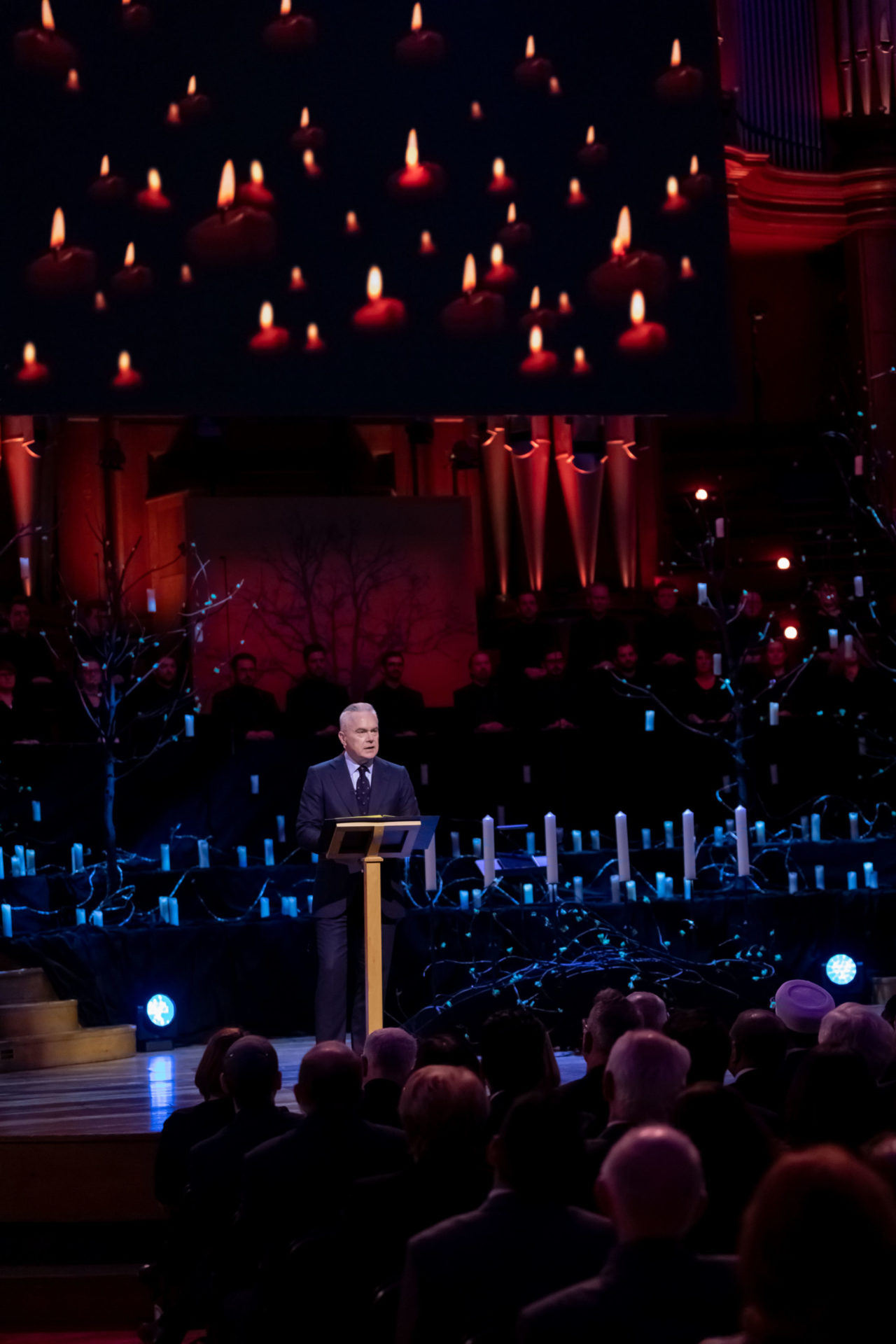 Huw Edwards narrates the event