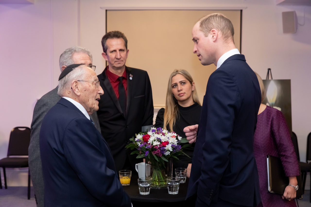 HRH The Duke of Cambridge meets survivors of the Holocaust, Manfred Goldberg and Ernest Simon,  survivor of the Genocide in Bosnia, Dzemal Paratusic, and Daniela Abraham, a member of the Roma community
