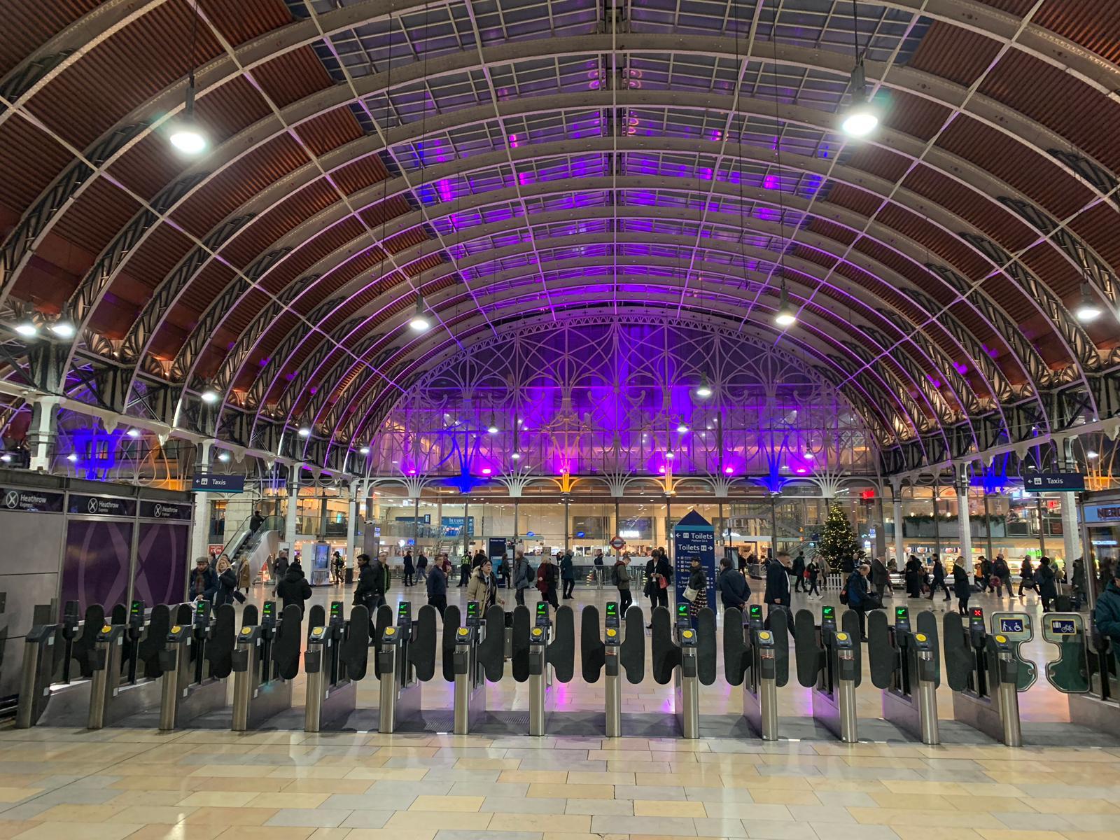 Lighting up of Paddington Station