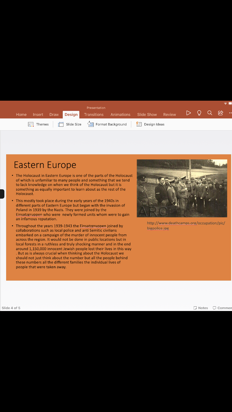 PowerPoint of an overview of the holocaust and also a piece of writing on the Holocaust