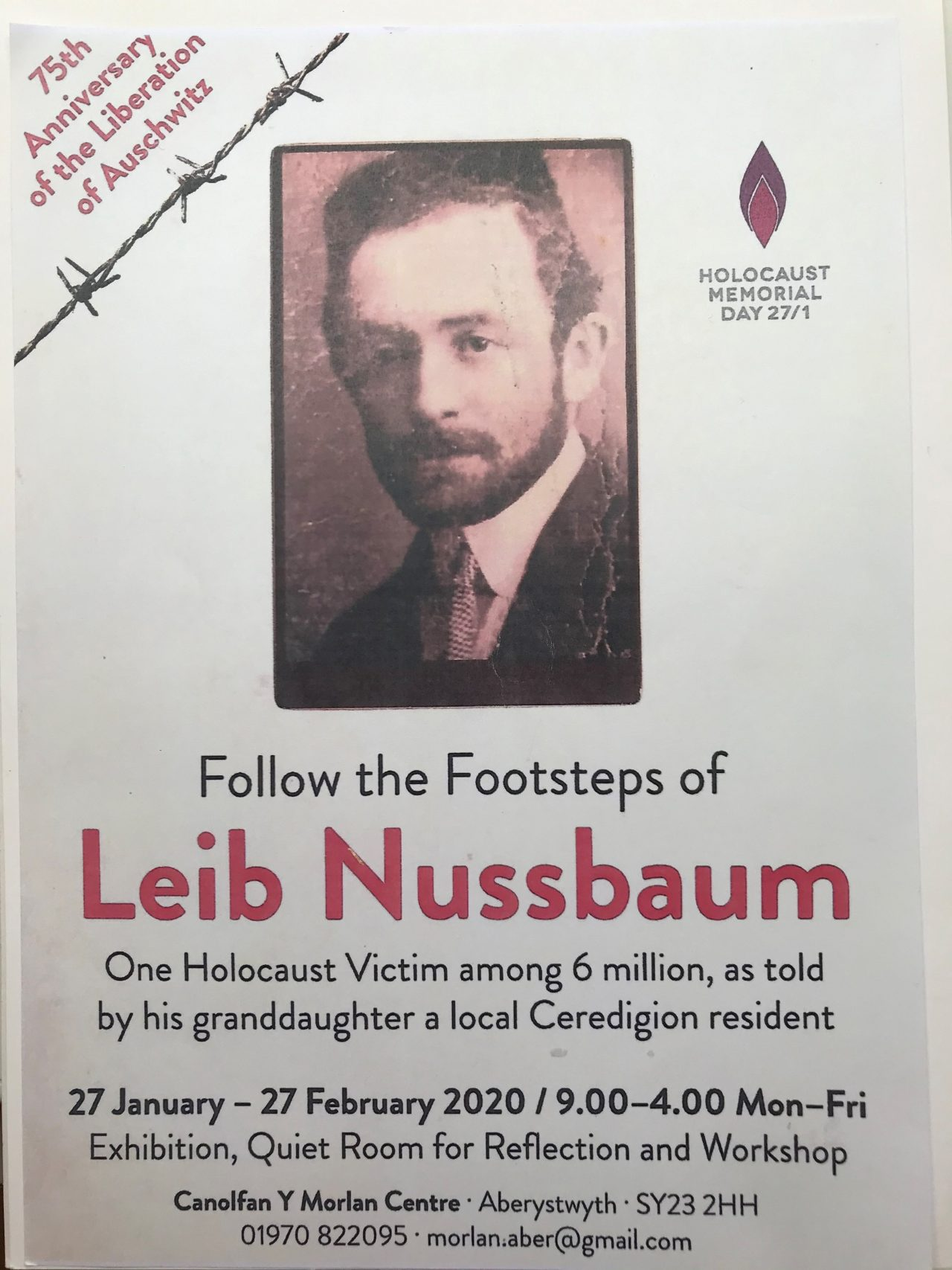 """"""" Follow in the Footsteps of Leib Nussbaum"""" One holocaust victim among six million, as told by his granddaughter, a local Ceredigion resident"""
