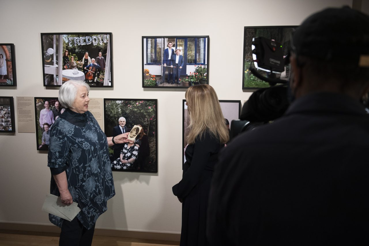 Joan Salter MBE, survivor of the Holocaust, at the opening of 'Generations: Portraits of Holocaust Survivors', © IWM