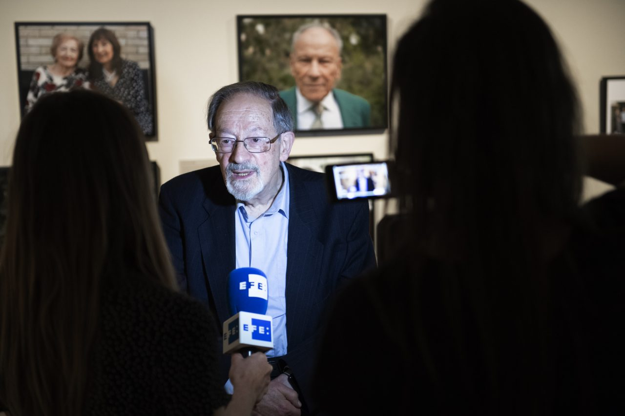 Martin Stern MBE, survivor of the Holocaust, at the opening of 'Generations: Portraits of Holocaust Survivors', © IWM
