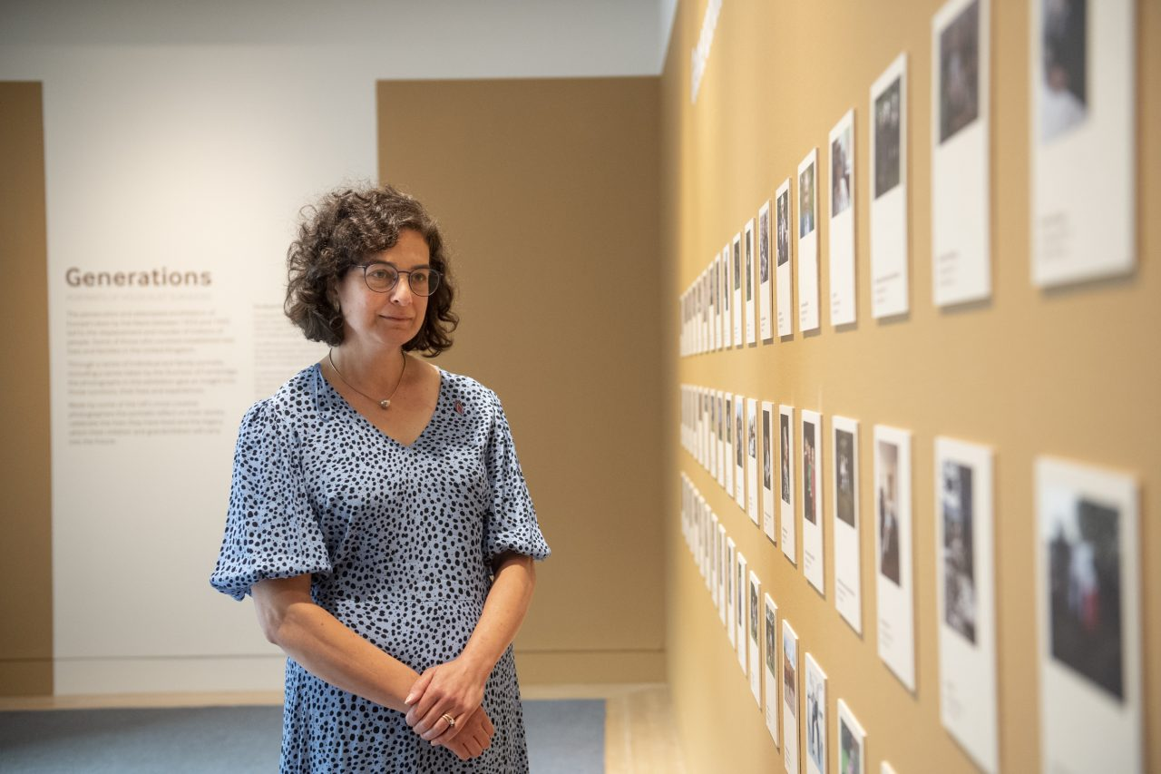 Olivia Marks-Woldman OBE, our Chief Executive, at the opening of 'Generations: Portraits of Holocaust Survivors', © IWM
