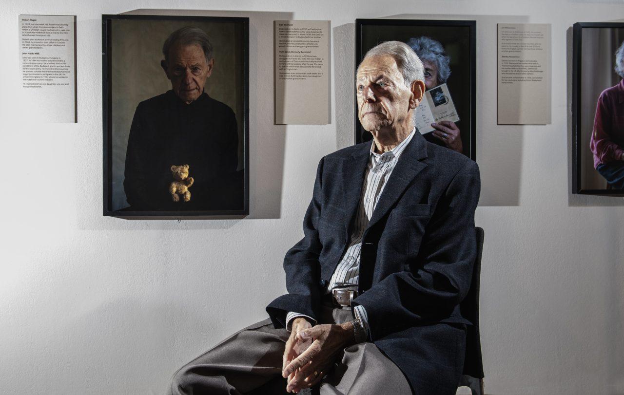 John Hajdu MBE, survivor of the Holocaust, at the opening of Generations: Portraits of Holocaust Survivors, © IWM